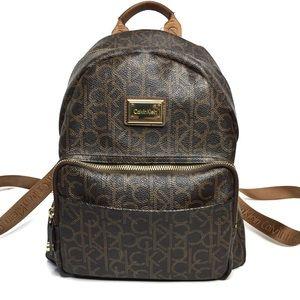 Calvin Klein Monogram Mini Backpack Dark Brown Tan